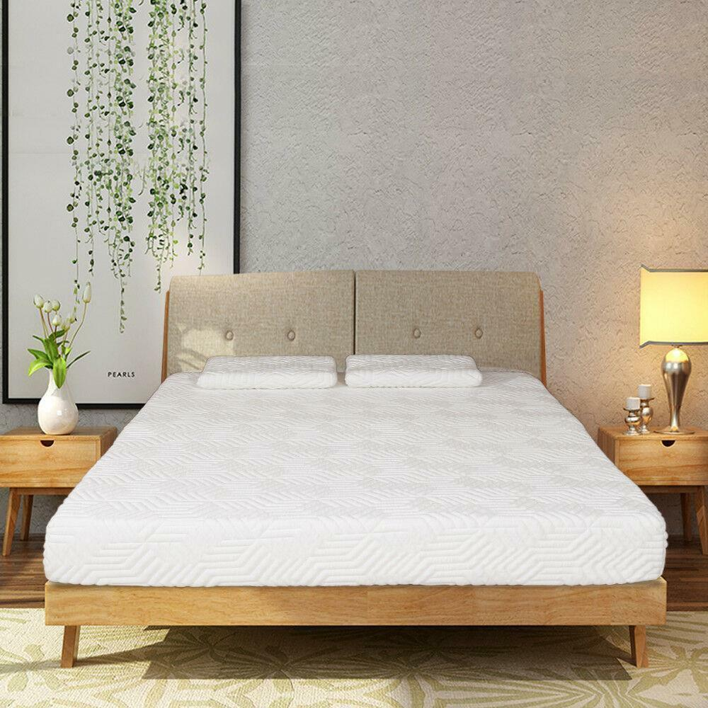 New 8 Inch Queen Size Cool Firm Memory Foam Mattress Bed With 2 Pillows White Ebay