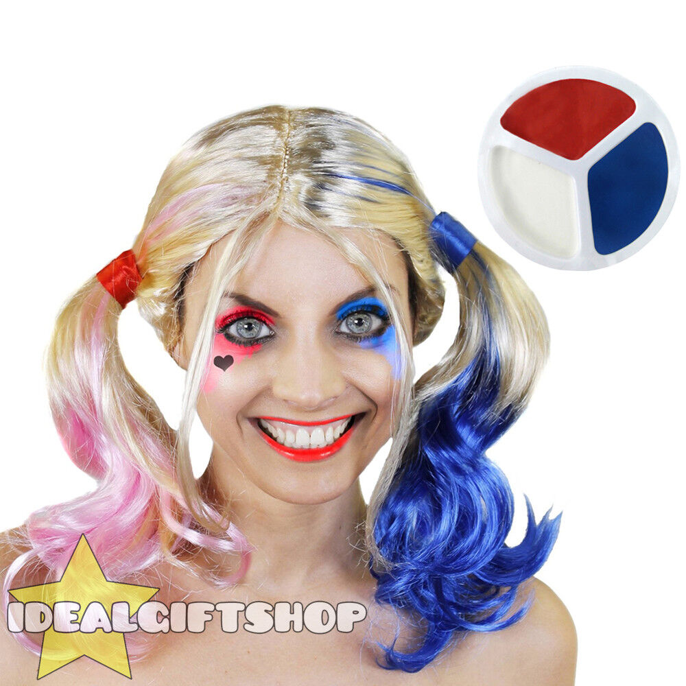 HARLEQUIN WIG + FACE PAINT HALLOWEEN COSPLAY SQUAD ADULTS ...