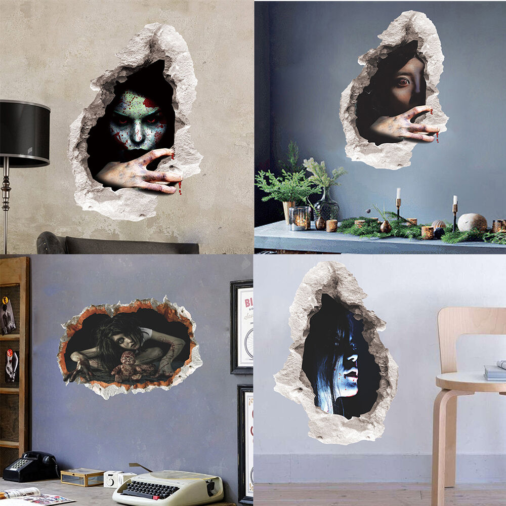 Halloween 3d Horror Ghost Wall Stickers Removable Scary Wall Decals Home Decor Ebay