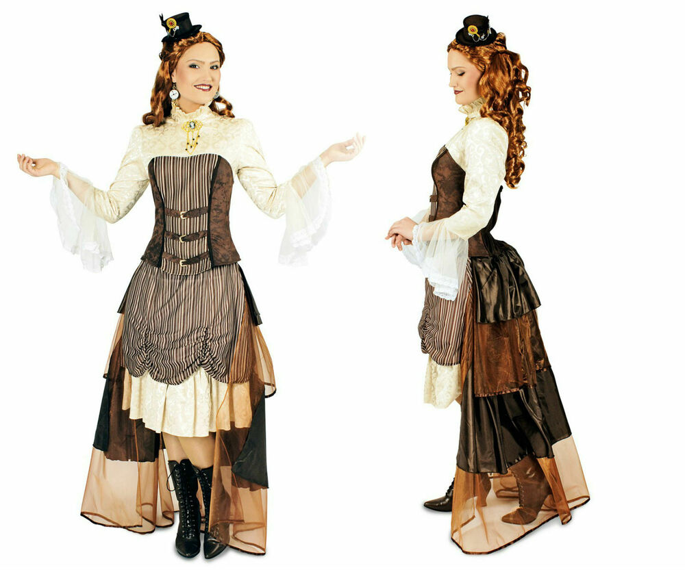 damen kost m steampunk viktoria saloon girl western reiterin karneval ebay. Black Bedroom Furniture Sets. Home Design Ideas