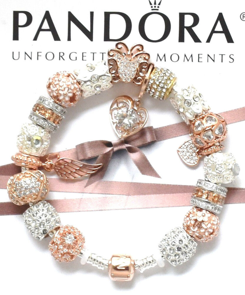 Gold Pandora Jewelry: Authentic Pandora Silver Rose Gold Clasp Charm Bracelet