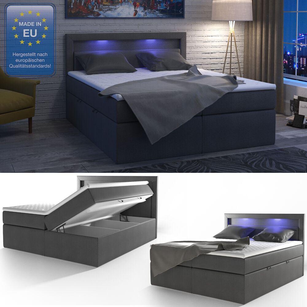 design boxspringbett led doppelbett bett hotelbett ehebett 180x200 cm anthrazit ebay. Black Bedroom Furniture Sets. Home Design Ideas