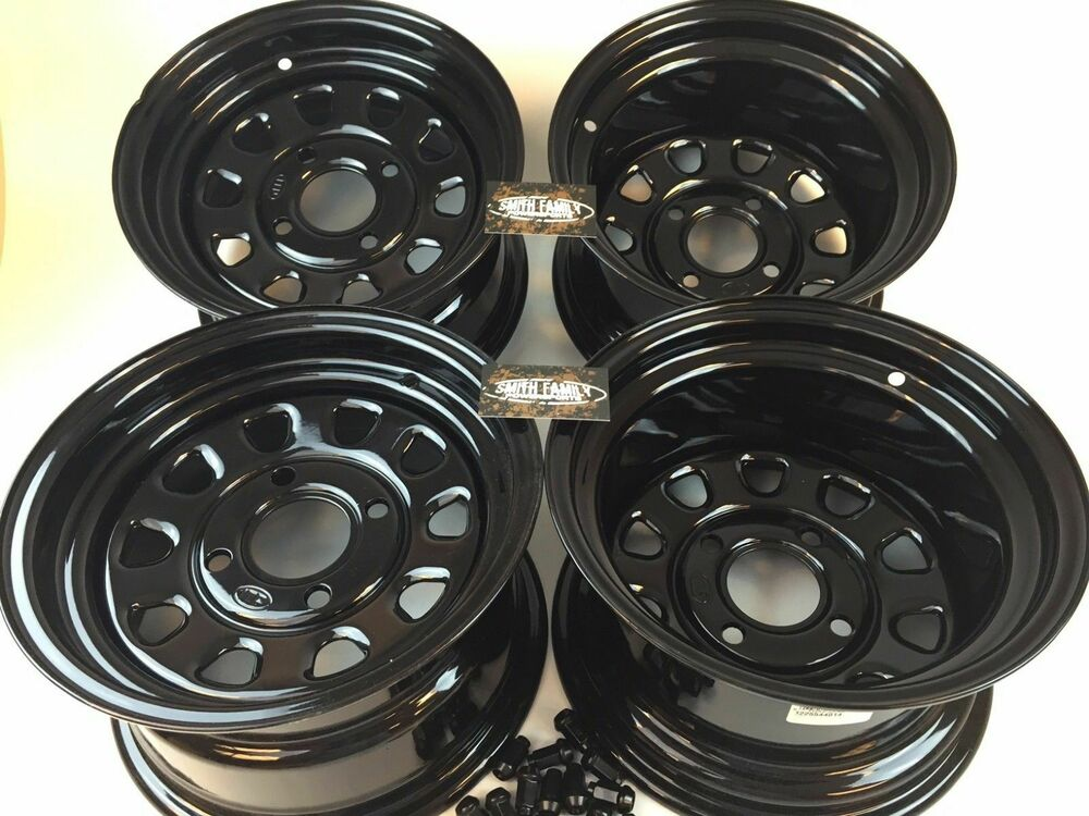 "Four Wheeler With Rims: 4 Honda ATV UTV Wheels Set 12"" ITP Delta Steel Black 4/110"