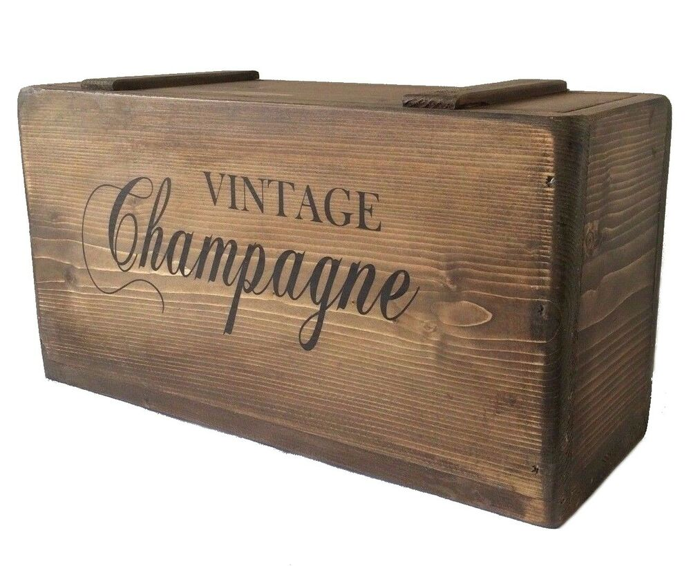 Vintage Champagne Crate Rustic Storage Box With Lid Solid ...