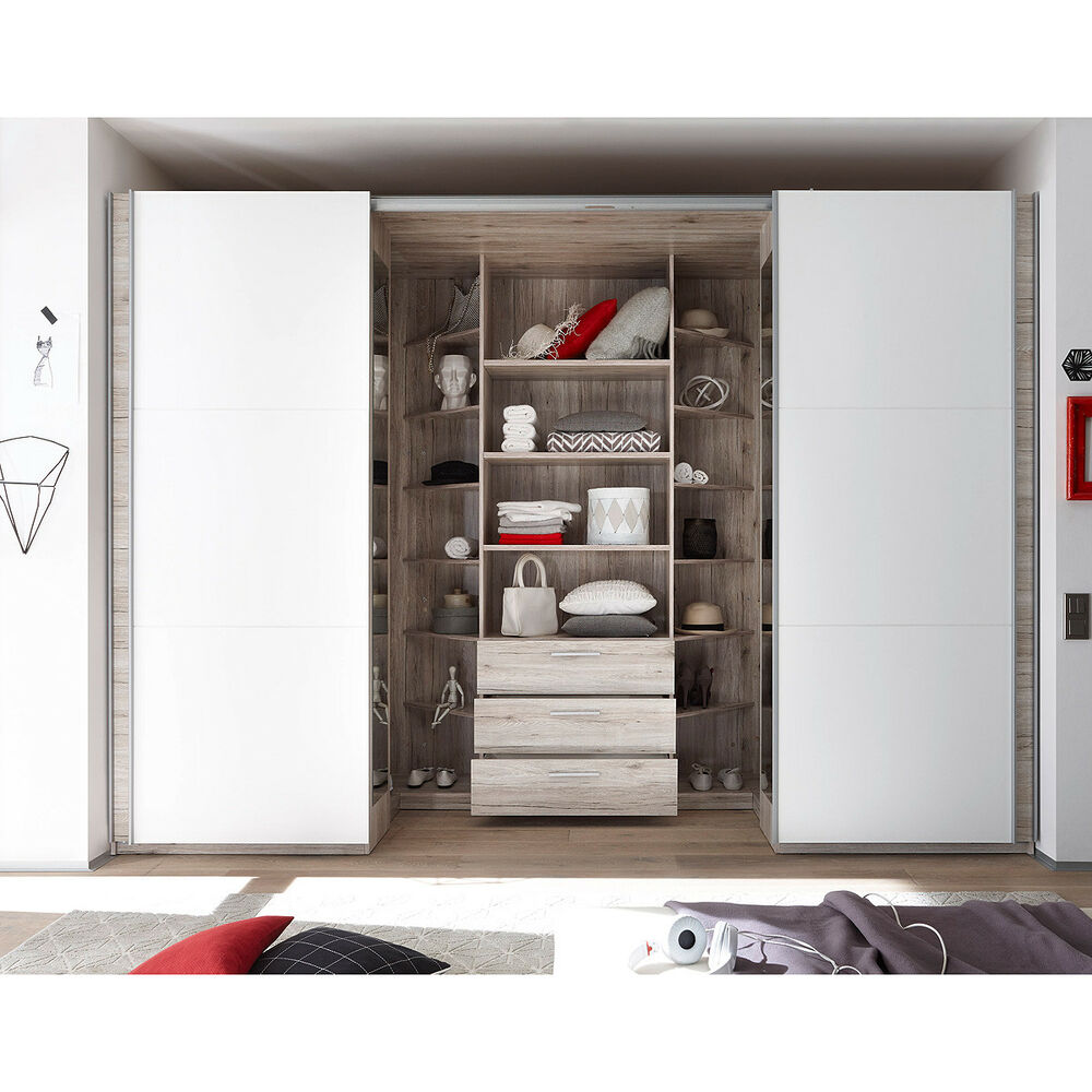 schwebet renschrank big kleiderschrank schrank begehbar in sandeiche wei 315 cm ebay. Black Bedroom Furniture Sets. Home Design Ideas