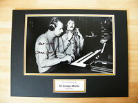 SIR GEORGE MARTIN GENUINE HAND SIGNED AUTOGRAPH 16X12 PHOTO MOUNT BEATLES & COA