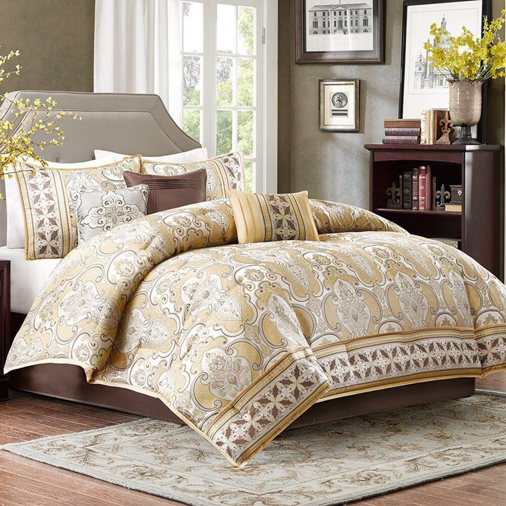 Damask 7 Piece Comforter Set In Gold Polyester Jacquard