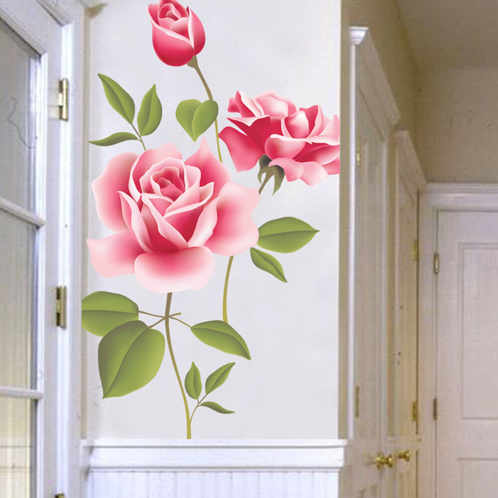 Creative rose flower wall stickers removable decal home for Rose home decorations