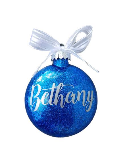 Personalized Christmas Ornament Gift Name Glitter Tree ...