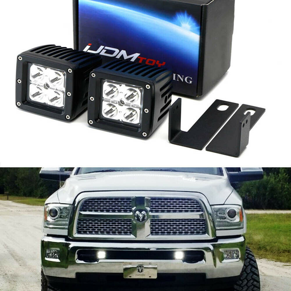40W CREE LED Pods w Lower Bumper Mounting Bracket For 09