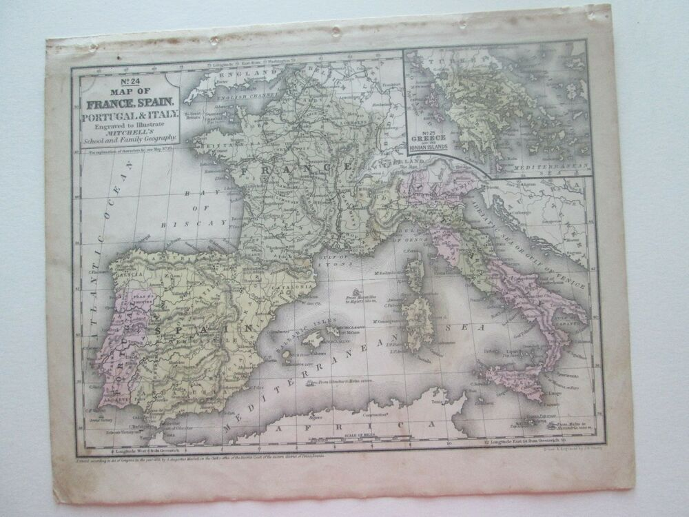 Map Of Spain Portugal And France.1852 S Augustus Mitchell S Map France Spain Portugal