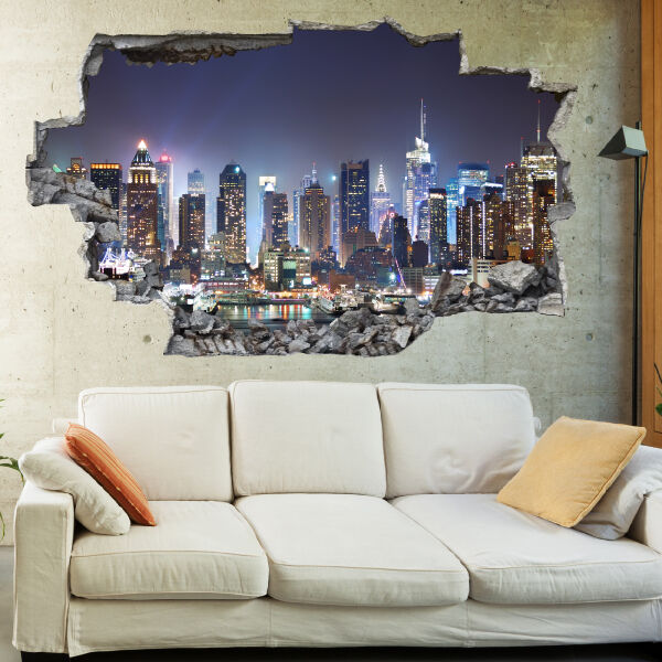 New York City Night Skyline 3D Art Wall Mural Photo