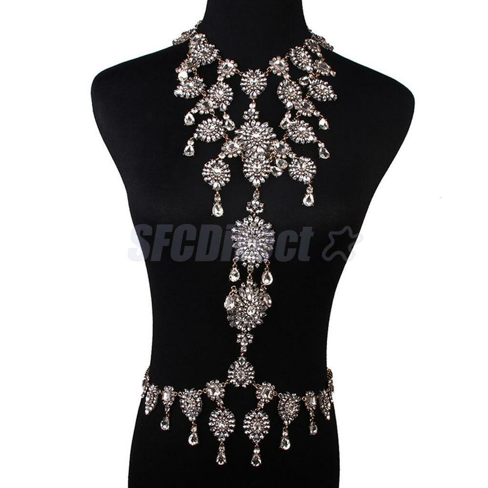 Luxury crystal flower pendant bikini body chain necklace for Body jewelry las vegas