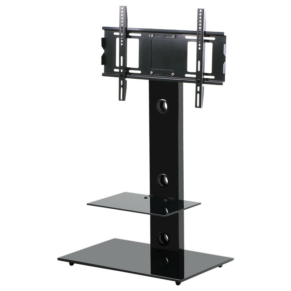 high gloss tv stand with tv bracket mount for plasma lcd tv black glass 32 55 ebay. Black Bedroom Furniture Sets. Home Design Ideas