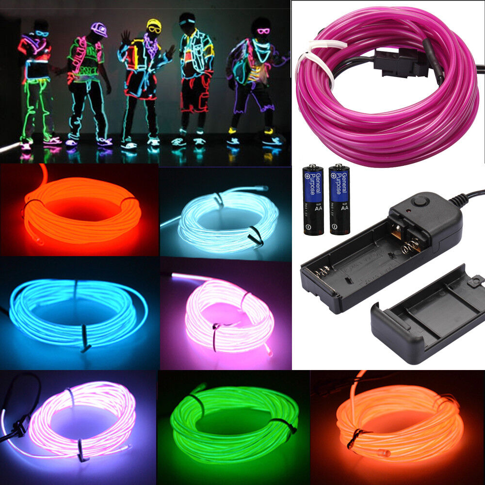 neon led light glow el wire string strip rope tube car dance party controller ebay. Black Bedroom Furniture Sets. Home Design Ideas