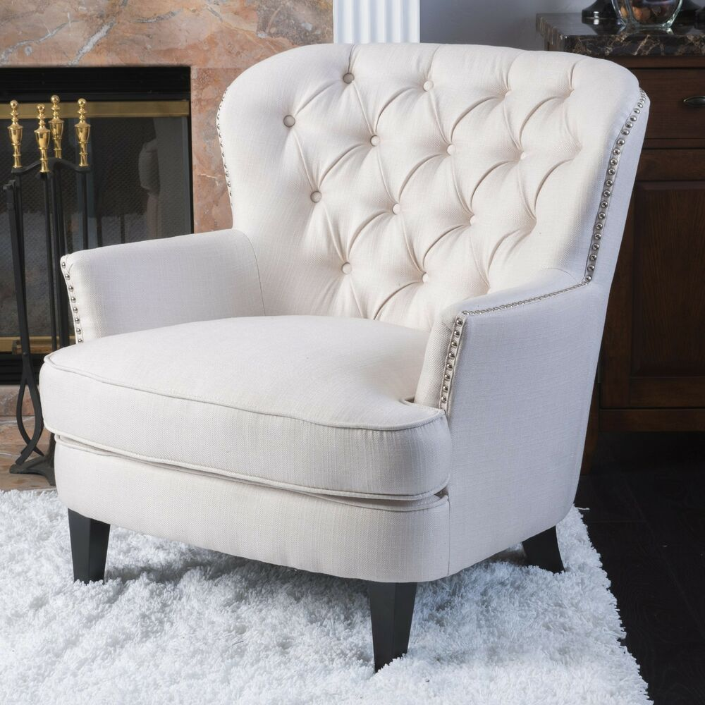 Zyral Contemporary Ivory Fabric Club Chair