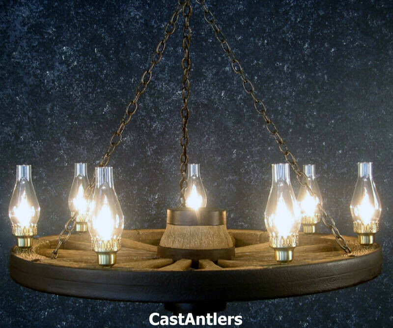 "Wagon Wheel Lights Ebay: 42"" REPRODUCTION WAGON WHEEL CHANDELIER CHD ANTLER Made In"