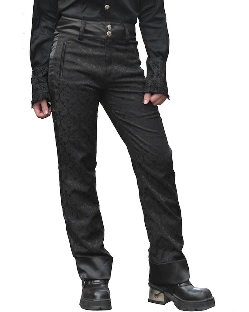 Pentagramme Mens Pants Trousers Black Brocade Gothic ...