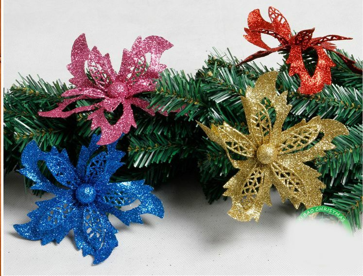 Red Glitter Christmas Tree Decorations : Christmas flowers xmas tree decorations glitter hollow