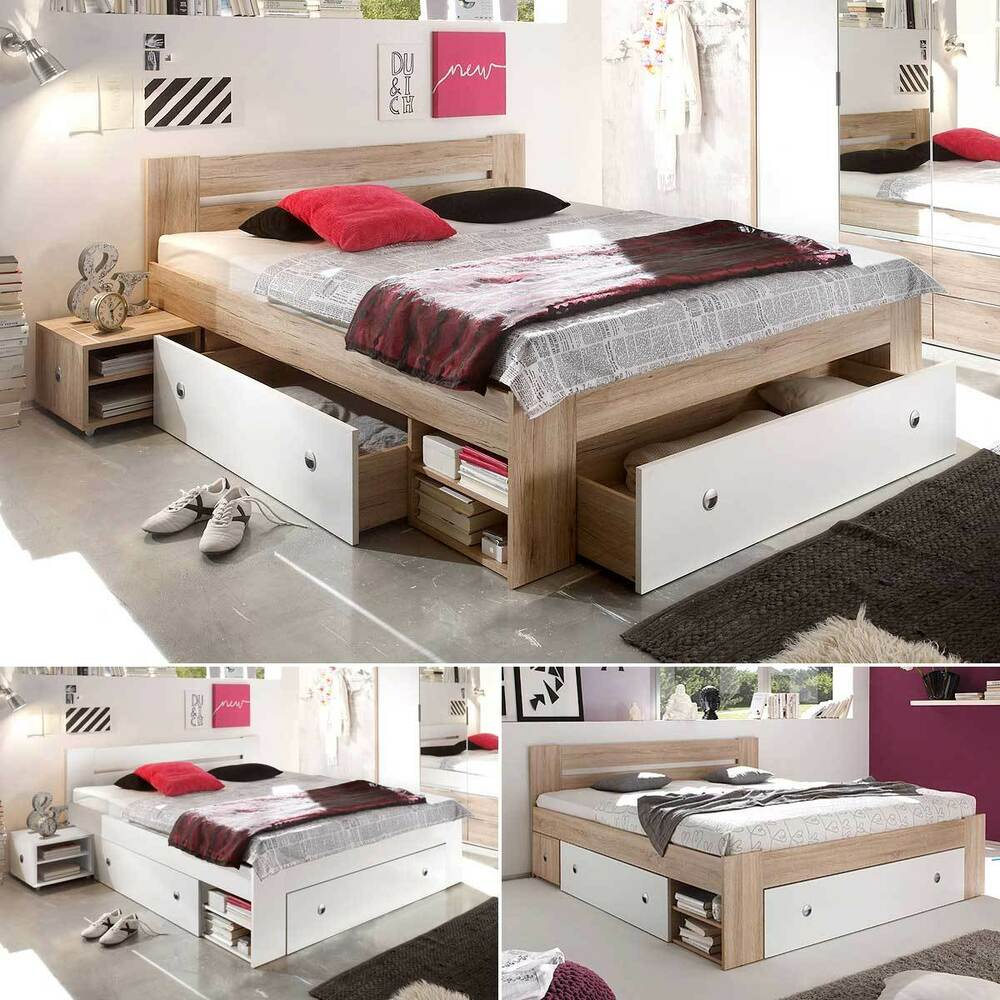 funktionsbett stefan bettanlage doppelbett nachtkommode bett mit schubk sten ebay. Black Bedroom Furniture Sets. Home Design Ideas