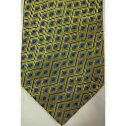 NEW Hugh Parsons Handmade in England Gold With Blue Diamonds Tie