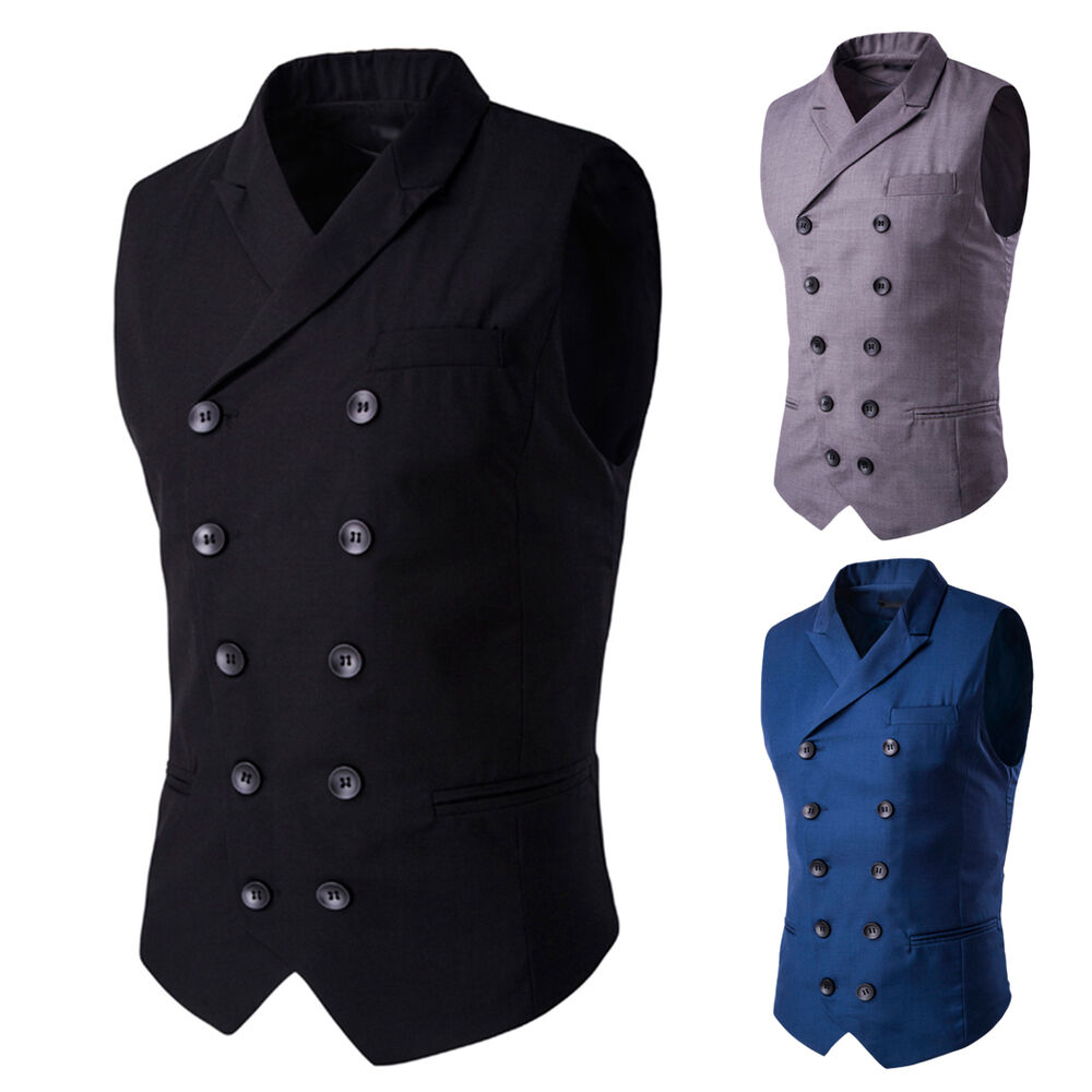 Men S Retro Double Breasted Formal Business Slim Fit Dress