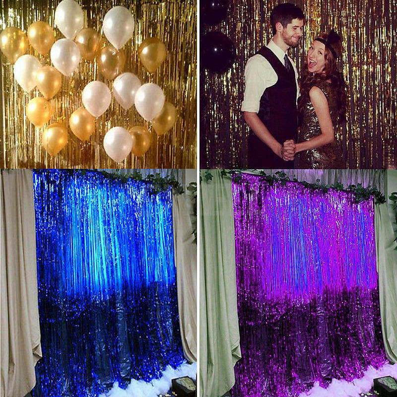 Door Fiil Party City: 2016 Metallic Fringe Curtain Party Foil Tinsel Home Room