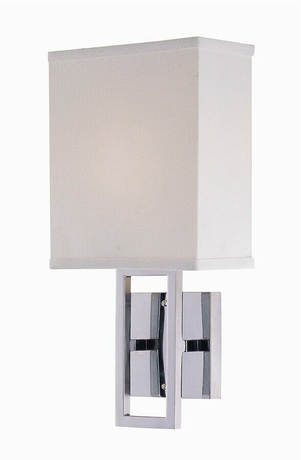 White Wall Lamp Shades : Lite Source Wall Lamp, Chrome, White Fabric Shade - LS-16585C-WHT eBay