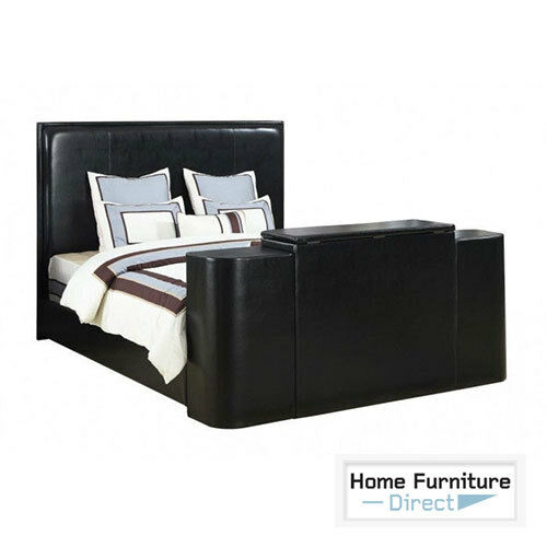 miles black cal king bed with tv lift ebay. Black Bedroom Furniture Sets. Home Design Ideas