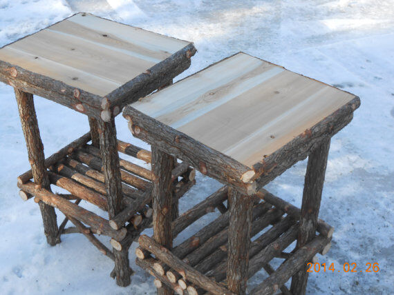 Twig Furniture Rustic Cedar Log End Table Handcrafted Handmade Set Of Two Ebay