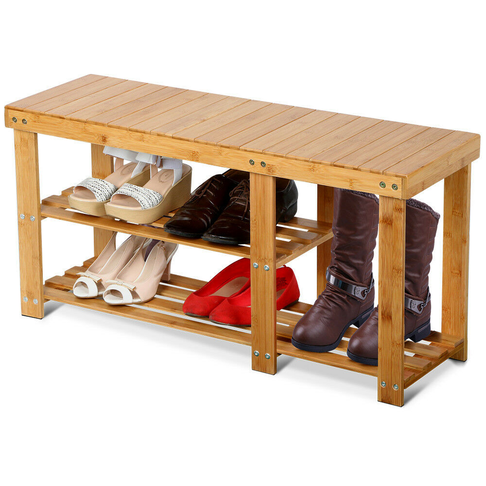Shoe Rack Bench Hallway Storage Organizer Entryway Furniture Bamboo Stool Seat Ebay
