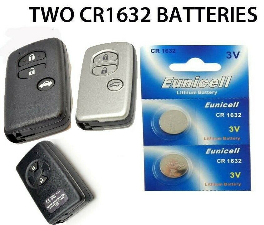 2 toyota iq prius auris yaris avensis verso remote key fob batteries cr1632. Black Bedroom Furniture Sets. Home Design Ideas