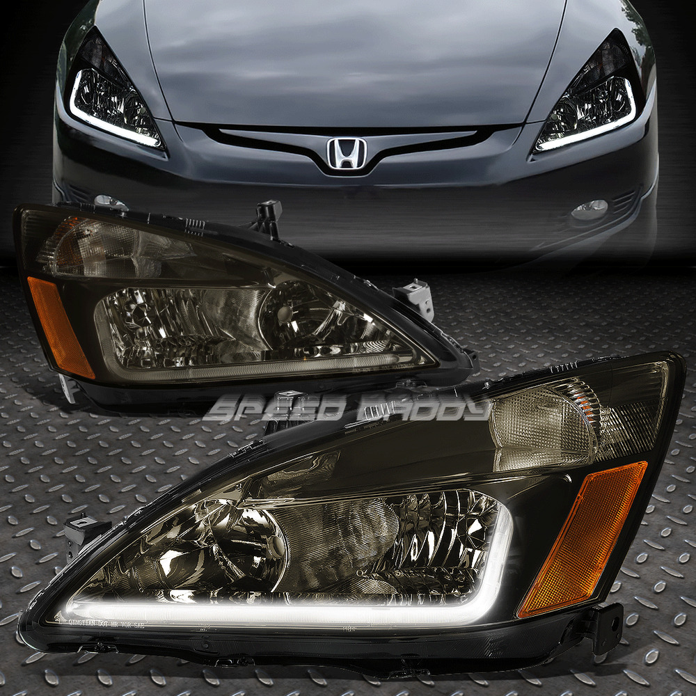 led drl for 2003 2007 honda accord smoked housing amber. Black Bedroom Furniture Sets. Home Design Ideas