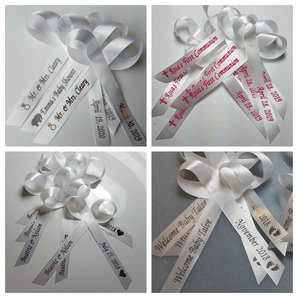 25 personalized ribbons favor baby shower bridal wedding baptism