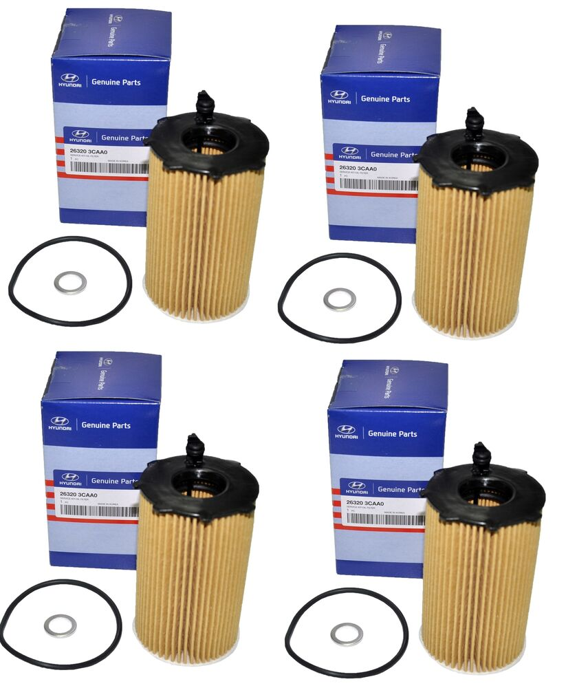 new set of 4 genuine oem for hyundai kia oil filter 26320. Black Bedroom Furniture Sets. Home Design Ideas