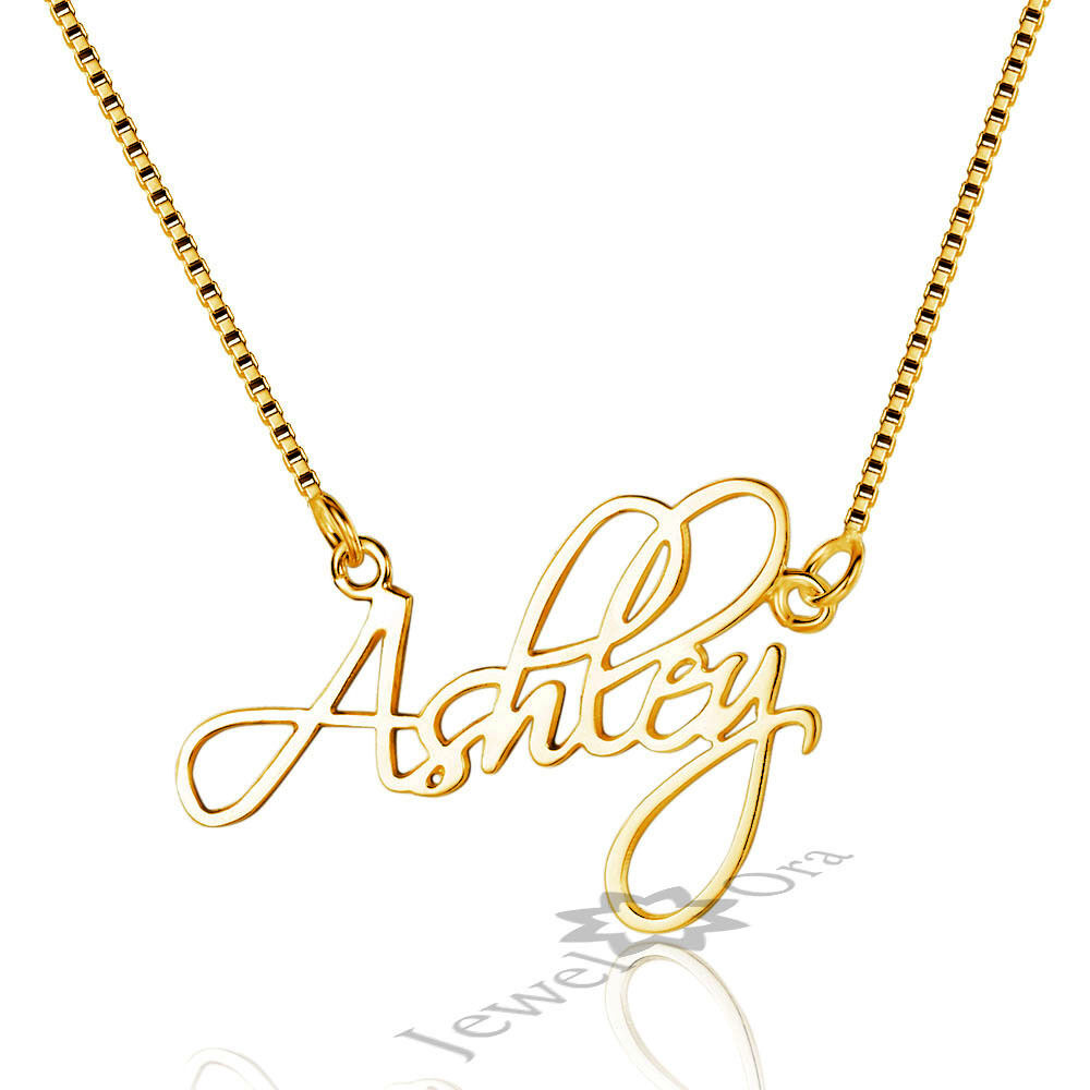 personalized handwriting gold name necklace custom 925. Black Bedroom Furniture Sets. Home Design Ideas