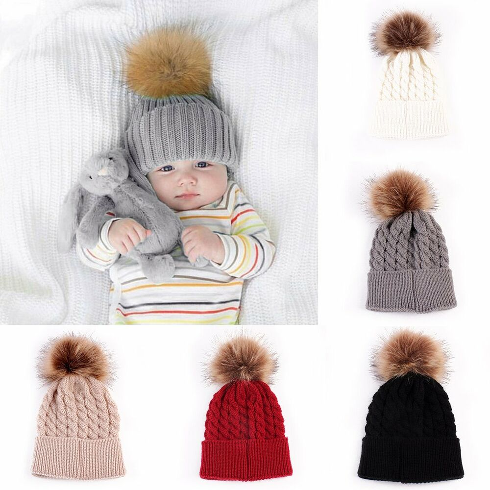 81ce15c2129a4 Details about Infant Toddler Kid Baby Winter Warm Beanie Hat Knit Pom poms  Beanie Ski Boy Cap