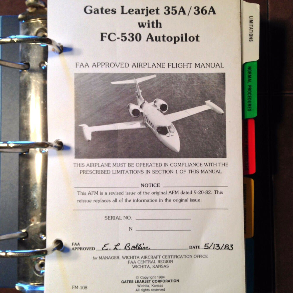 Gates LearJet 35A & 36A with FC-530 Autopilot Airplane Flight Manual | eBay