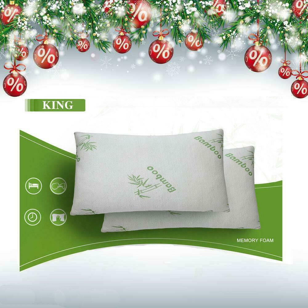 New 2pcs Bamboo Pillow Memory Foam King Size Improved