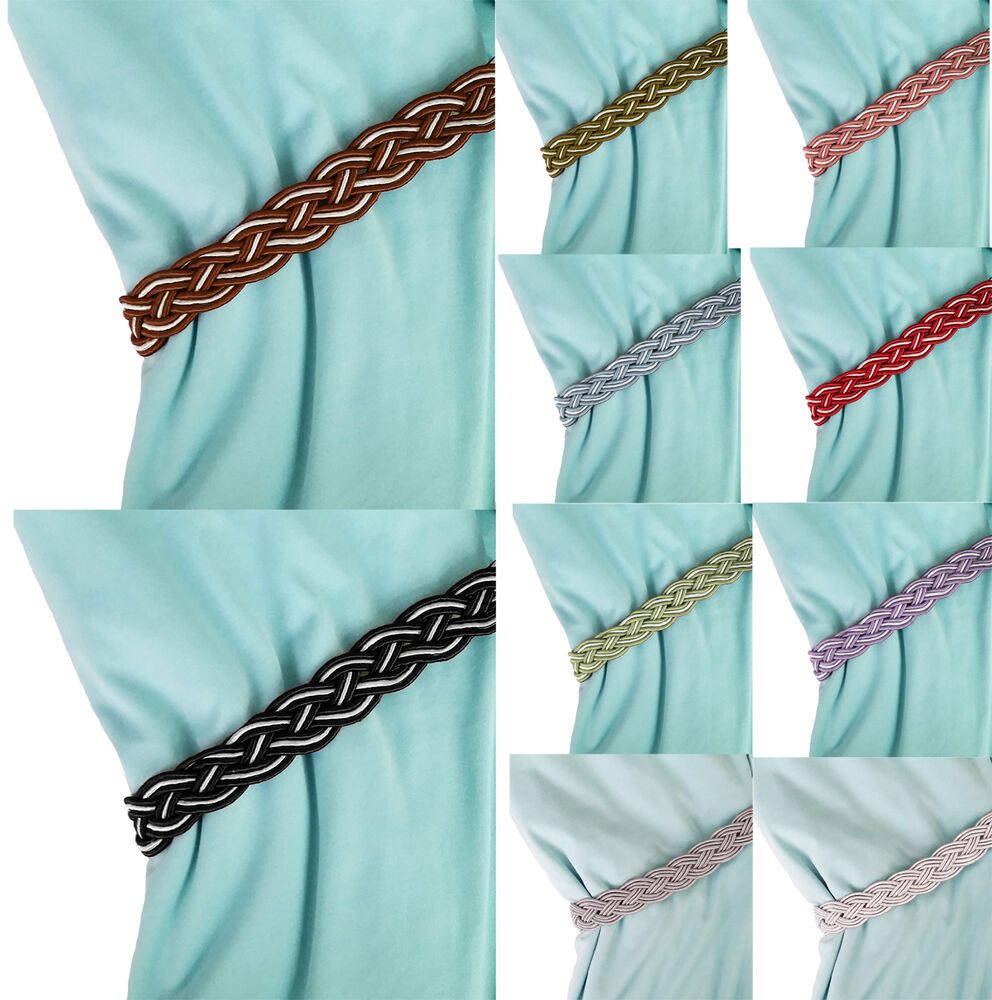 Drape Ties: Pair Of Braided Tiebacks Tie Back Rope Curtains Holdbacks