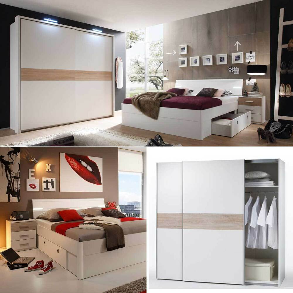 schlafzimmer set kleiderschrank victor 4 bett mit led 180x200 zwei nachtkommoden ebay. Black Bedroom Furniture Sets. Home Design Ideas