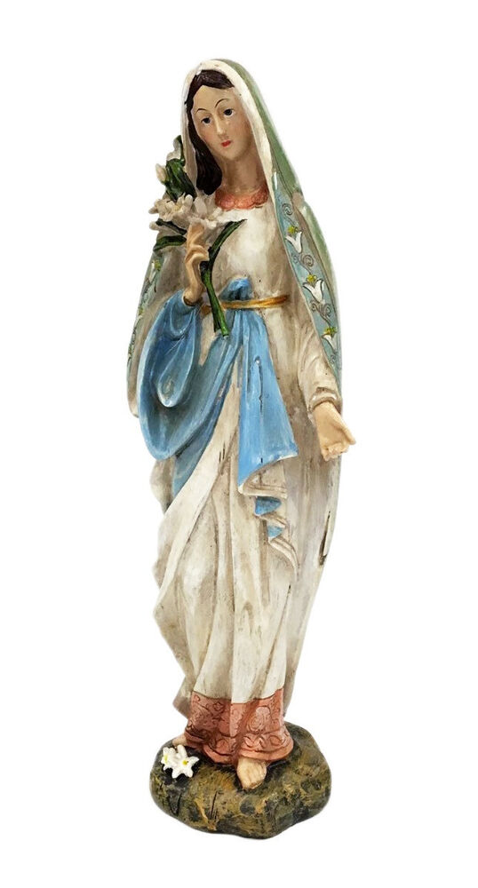 blessed virgin mary mother madonna lilies garden statue ebay