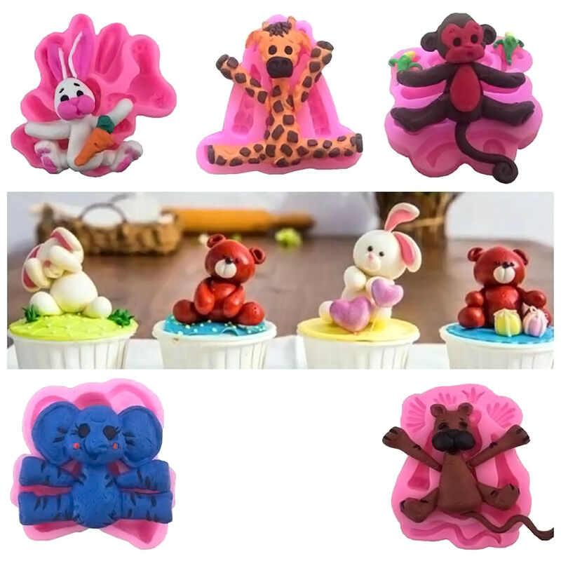 Baby 3d animal silicone fondant chocolate mould cake decor for 3d printer cake decoration