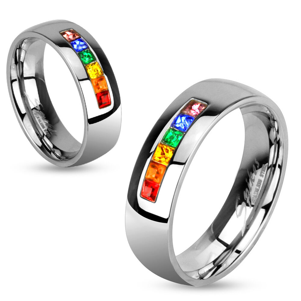 rainbow color gems pride stainless steel band