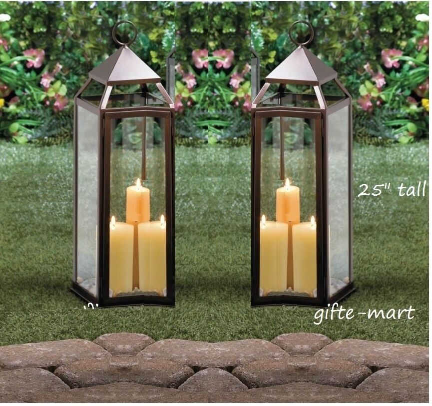 """Outdoor Hanging Lanterns With Stand: 2 Large 24"""" Tall Malta BRONZE BROWN Candle Lantern Holder"""