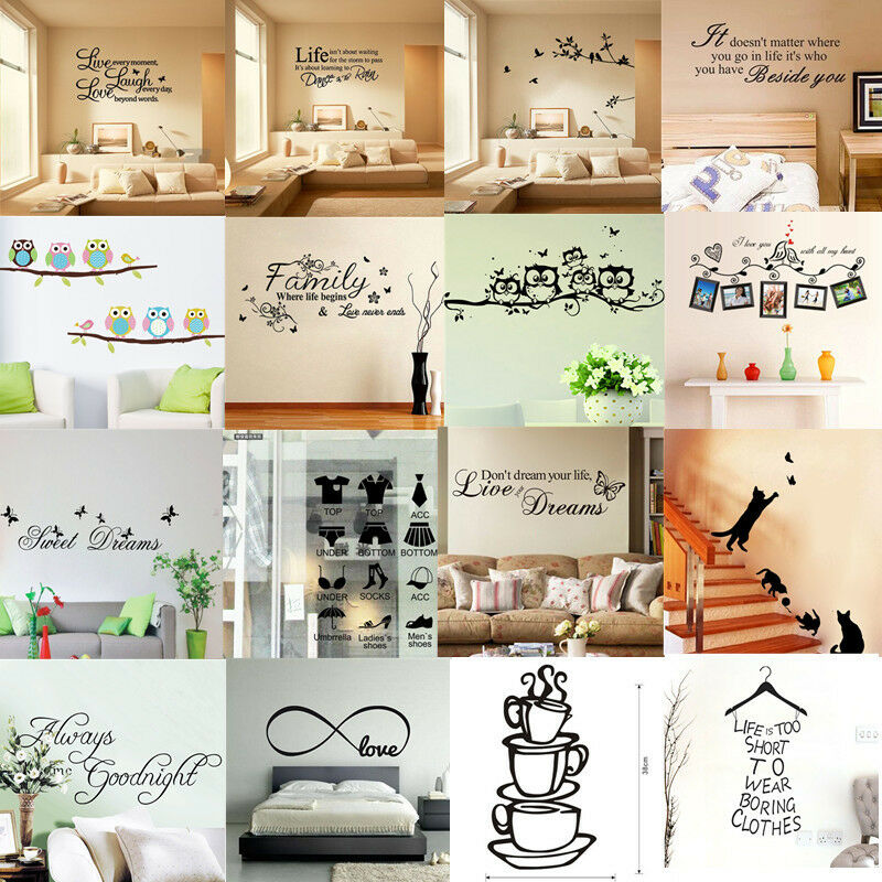 Removable vinyl home room decor art quote wall decal for Diy room decor quotes