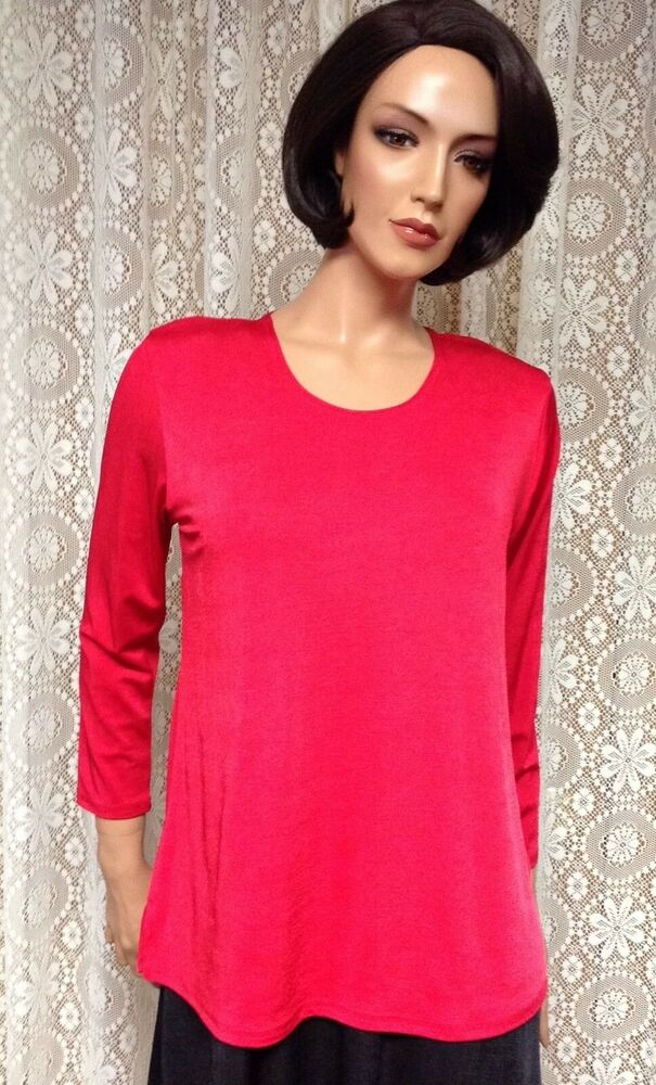 7b4482630f8069 Details about JOSTAR Poly Spandex Slinky STRETCH Knit LONG SLEEVE TEE TOP  Red TRAVEL S M L XL