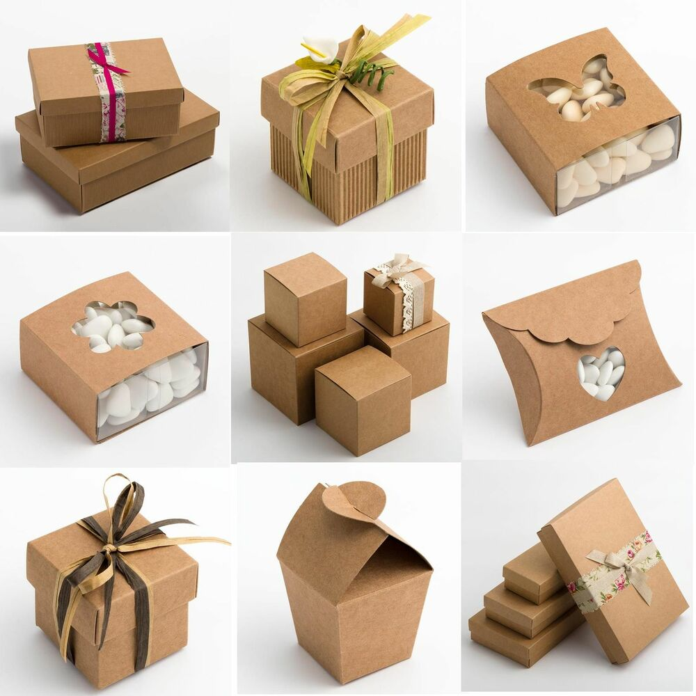 Gift Boxes For Weddings: Natural Rustic Kraft Shabby Chic Wedding Favour Gift Boxes