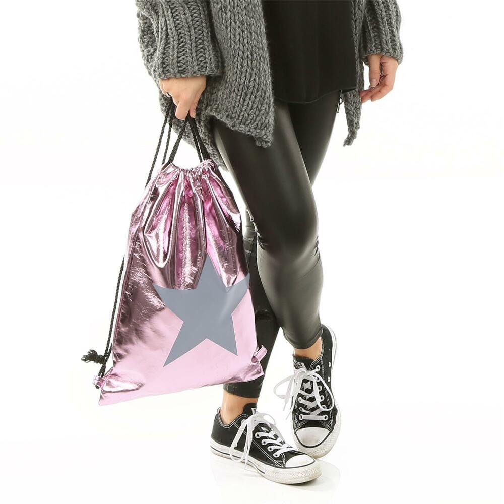 h4f damen turnbeutel rosa rucksack stern metallic hipster gym bag beutel tasche ebay. Black Bedroom Furniture Sets. Home Design Ideas