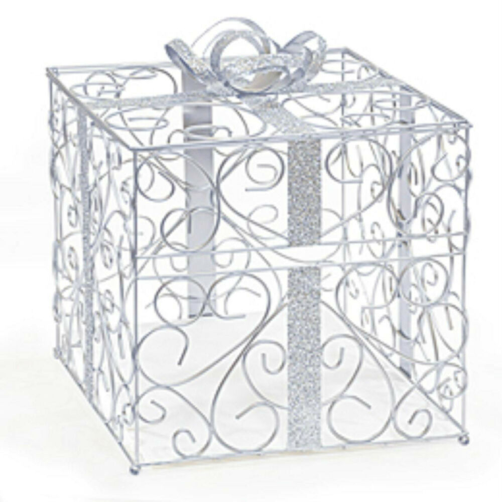 Wedding Card Boxes For Receptions: New Large Silver Metal Reception Scrolled Card Holder Box